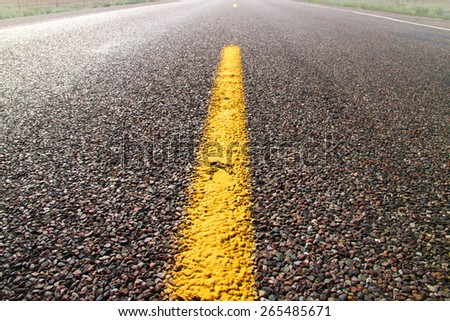 Yellow road dividing line on a desert road - stock photo