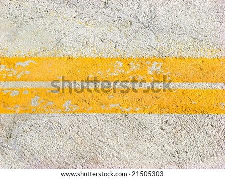Yellow road lines - stock photo