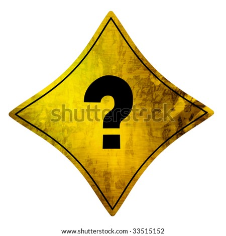 yellow road sign with a questionmark on it - stock photo