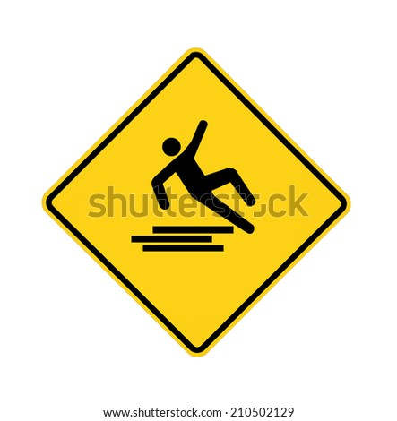 Yellow road sign with slipping man, with path