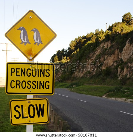 Yellow roadsigns warning for penguins crossing road