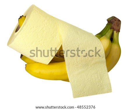 Yellow roll embracing a banana - stock photo