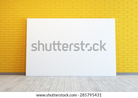 yellow room with blank picture - stock photo