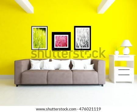 Yellow Sofa Living Room Stock Photo 401538130 - Shutterstock