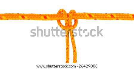 Yellow rope with girth hitch (also known as the larks foot) isolated on white. So simple and so many uses.