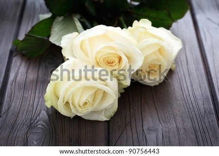Yellow roses on a wooden background. - stock photo