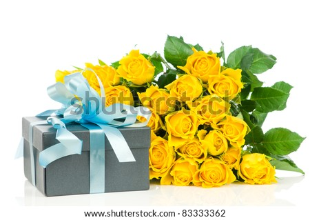 Yellow roses with gift box isolated on white background