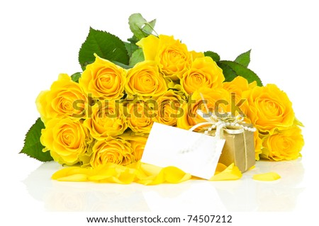 Yellow roses with greeting card an gift box isolated on white background - stock photo