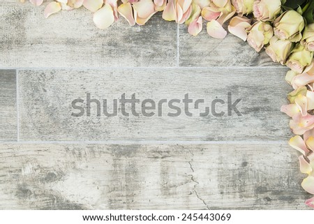 Yellow roses with hint of pink as background for wedding invitations cards, ads or promotional work. - stock photo