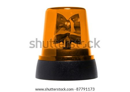 yellow rotating beacon - stock photo