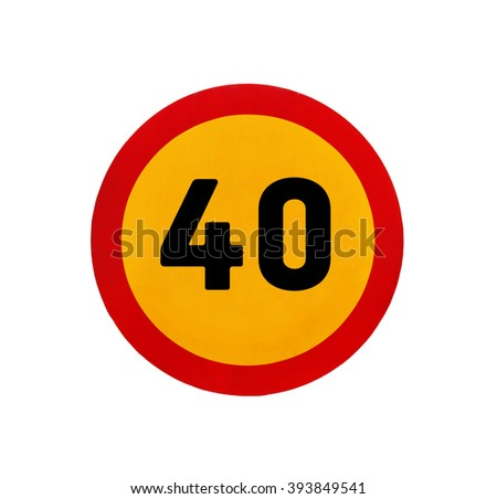 Yellow round speed limit 40 road sign - stock photo