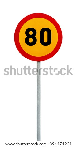 Yellow round speed limit 80 road sign on rod - stock photo