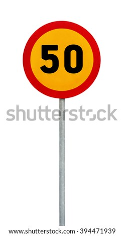 Yellow round speed limit 50 road sign on rod - stock photo