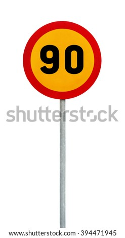 Yellow round speed limit 90 road sign on rod - stock photo