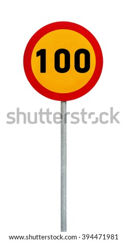 Yellow round speed limit 100 road sign on rod - stock photo