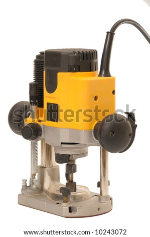 yellow router on white background - stock photo