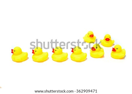 Yellow Rubber Duck isolated on white background - stock photo