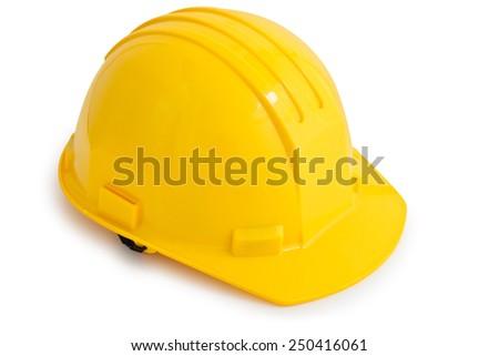 Yellow safety hard hat. Isolated on white background. - stock photo