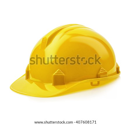 Yellow safety helmet close-up isolated on a white background. - stock photo