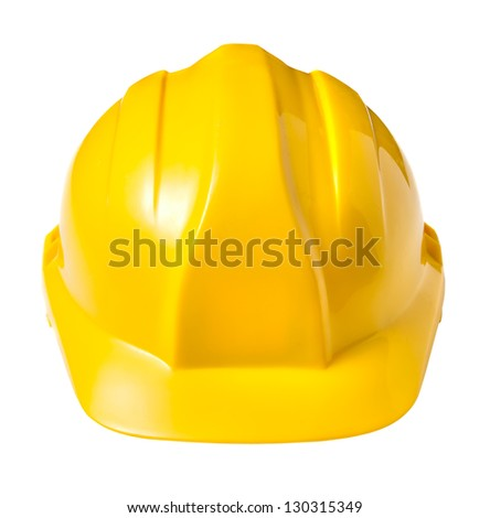 Yellow safety helmet isolated on white background - stock photo