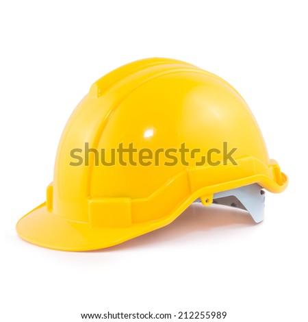 Yellow safety helmet isolated on white background - stock photo