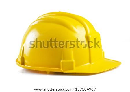 Yellow safety helmet on the white background - stock photo