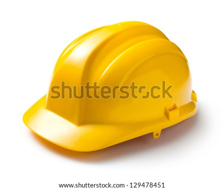 Yellow safety helmet on white background - stock photo