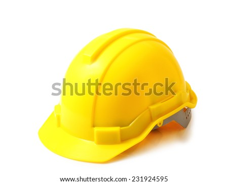 Yellow safety helmet on white background, hard hat isolated clipping path. - stock photo
