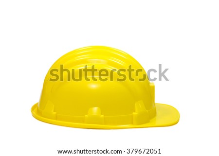 Yellow safety helmet on white background ,isolated on white background - stock photo