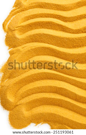 Yellow sand with waves. Isolated on white background. - stock photo