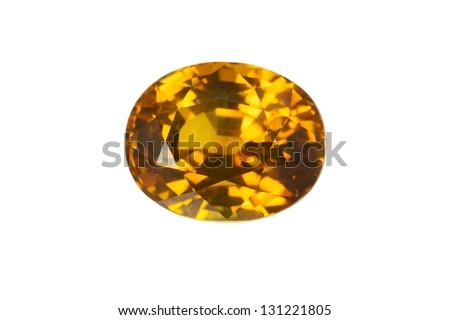 Yellow Sapphire isolated on white - stock photo