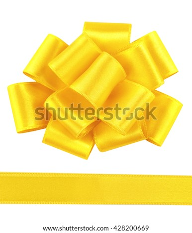 Yellow satin bow and ribbon isolated on white - stock photo