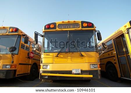Yellow school bus - stock photo