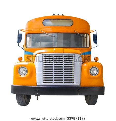 yellow school bus front side view isolated on white background - stock photo