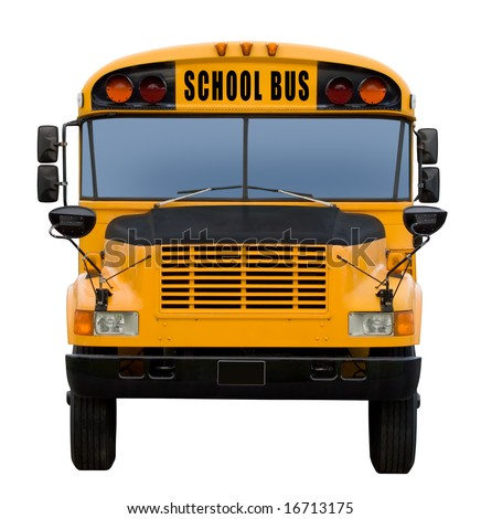 Yellow school bus isolated on white - front view - stock photo