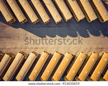 Yellow School Buses aerial top view