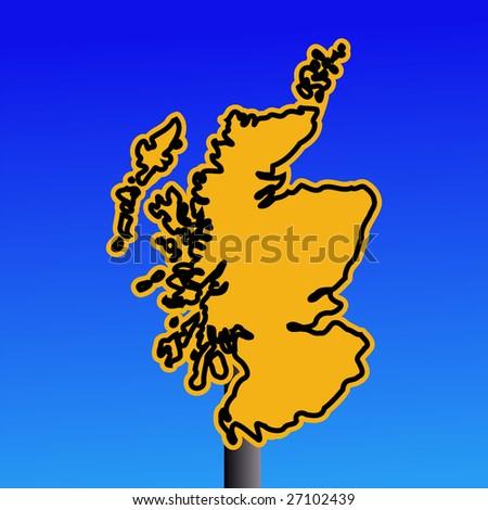 yellow Scotland map warning sign on blue illustration JPEG - stock photo
