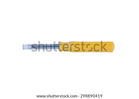 yellow screwdriver isolated on white background
