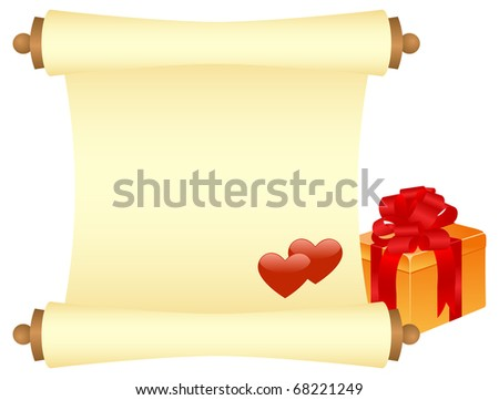 Yellow scroll with gift and two hearts. Isolated on a white.