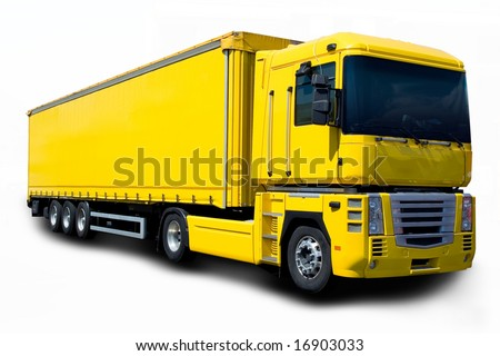Yellow semi truck - stock photo