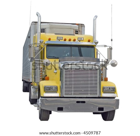 Yellow Semi Truck isolated on a white background - stock photo
