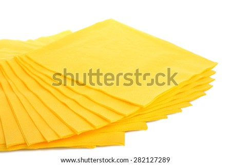 Yellow Serving colored paper napkins isolated - stock photo