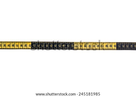 Yellow sewing meter on the white isolated background - stock photo