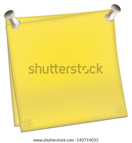 Yellow sheet of paper with a pushpin. Rasterized illustration. Vector version in my portfolio - stock photo