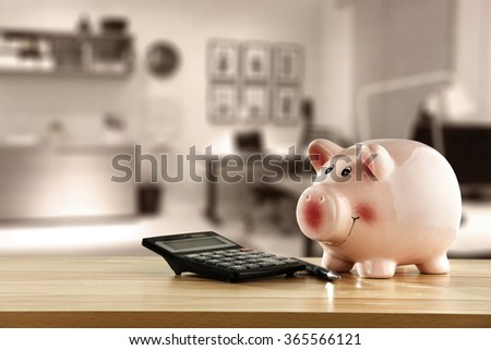 yellow shelf and pig  - stock photo