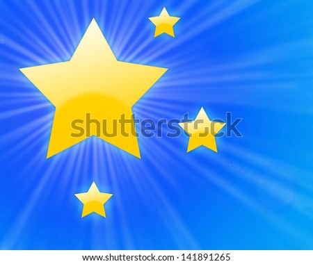 Yellow shining stars with light rays on a blue gradient background