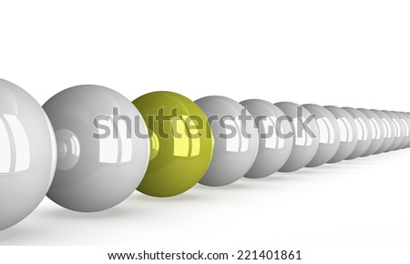 Yellow shiny ball in row of white ones isolated on white, perspective view - stock photo