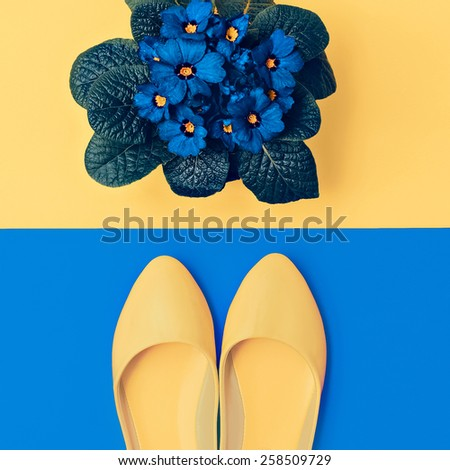 Yellow Shoes and blue Flowers. Romantic Lady style - stock photo