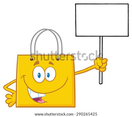 Yellow Shopping Bag Cartoon Character Holding Up A Blank Sign. Raster Illustration Isolated On White - stock photo