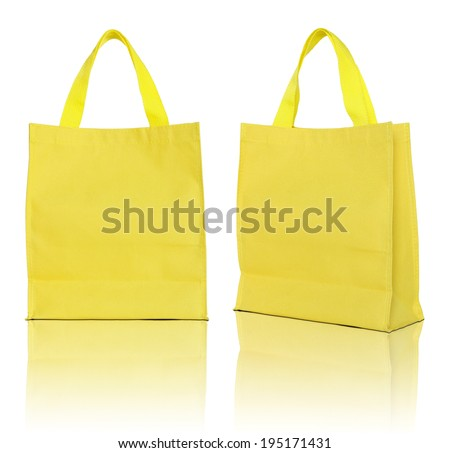 yellow shopping bag on white background  - stock photo